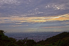 Sunset of the mountaintop of Osaka. Stock Images