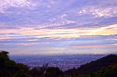 Sunset of the mountaintop of Osaka. Stock Photography