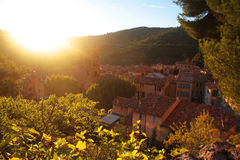 Sunset in Moustiers-Sainte-Marie Stock Photos
