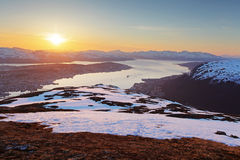 Sunset in moutain with fjord - Tromso Royalty Free Stock Images
