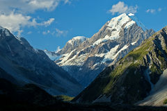Sunset on Mt. Cook from The Hooker Valley Track. Stock Photography