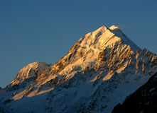 Sunset. Mt. Cook in New Zealand Royalty Free Stock Images
