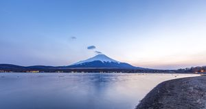 Sunset at Mt.fuji Yamanaka lake Royalty Free Stock Image