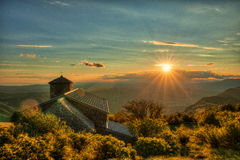 Sunset on mt Nanos above Vipava Valley Slovenia central Europe. With church Stock Photo