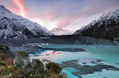 Sunset at Mueller Glacier Aoraki Mt Cook National Park. South Island, New Zealand royalty free stock photography