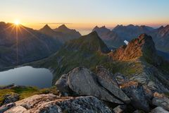 Munkebu mountain in Lofoten, Norway Royalty Free Stock Image