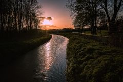Sunset  in my village. Little river in Leudal, Netherlands Royalty Free Stock Image