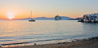 Sunset at Mykonos Island Stock Photography