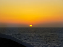 The sunset in Mykonos island in Greece Royalty Free Stock Photography