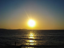 The sunset in Mykonos island in Greece Stock Photography