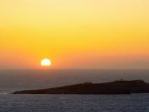 The sunset in Mykonos island in Greece Stock Photo