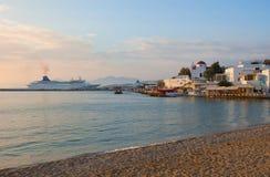 Sunset on Mykonos Island - the ship in port Stock Image