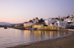 Sunset on Mykonos - restaurant near sea Royalty Free Stock Images