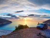 Sunset on Myrtos Beach, Greece,  Kefalonia Royalty Free Stock Image