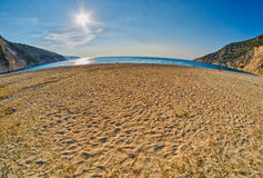 Sunset Myrtos Beach in Kefalonia, Greece Stock Photography