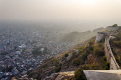 Sunset at Nahargarh fort and wiew to Jaipur Stock Photos