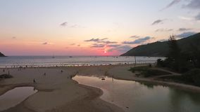 Sunset at Nai Harn Beach. HD Aerial Seascape View. Phuket, Thailand. stock video footage
