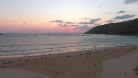 Sunset at Nai Harn Beach. HD Aerial Seascape View. Phuket, Thailand. stock video