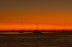 Sunset in Nai Harn beach and sailboat silhouette. Phuket, Thaila Stock Photography