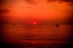 Sunset at Nai Yang Beach Stock Photos