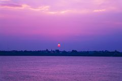 Sunset in the Nakhon Phanom. Royalty Free Stock Photo