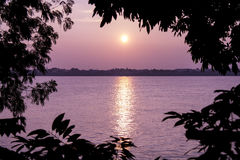 Sunset in the Nakhon Phanom. View from the Laos. Stock Photos
