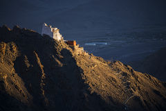 Sunset at Namgyal Tsemo Monastery ,main buddhist monastery centre in Leh, Ladakh, India Royalty Free Stock Images