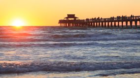 Sunset in Naples, Florida. Sunset at the historic Pier in Naples. Florida, United States stock footage