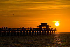 Sunset in Naples,Florida,USA. Sunset with People in Naples,Florida,USA stock photo