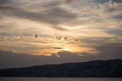 Sunset in Naples, Italy stock photos