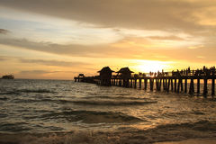 Sunset in Naples pier. On beach, Florida Stock Photography