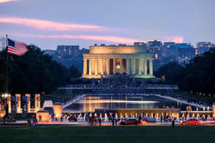 Sunset at the National Mall in Washington D.C. with a view of th. E Lincoln Memorial and the Reflecting Pool Stock Photos