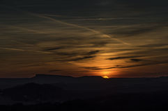 Sunset in national park from hill Royalty Free Stock Image