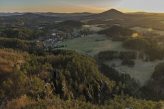 Sunset in national park from hill Stock Photos