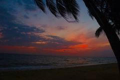 Background. Sunset at the beach at bangsean chonburi stock photography