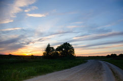 Sunset, nature, beautiful sky. And clouds Royalty Free Stock Photo