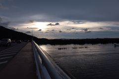 View. Sunset at the bridge chanthaburi Thailand stock image