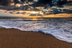 Free Sunset Nature Ocean Landscape Rays Royalty Free Stock Image - 200590046