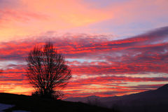 Sunset: Red Clouds, Burning Sky stock photo