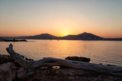 Sunset in Naussa, Paros Stock Photos
