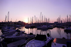Sunset in the nautical smaller boats port. Trieste, Italy 4 Royalty Free Stock Photography