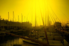 Sunset in the nautical smaller boats port. Trieste, Italy 3 Stock Photo