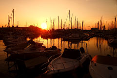 Sunset in the nautical smaller boats port. Trieste, Italy 2 Stock Image