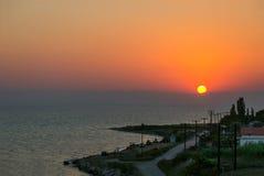 Sunset in Nea Kallikratia, Greece Stock Image