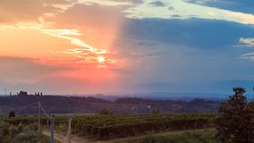 Sunset in the vineyards of Rosazzo after the storm. Sunset near the Abbey of Rosazzo, Friuli, Italy in a summer day royalty free stock photo