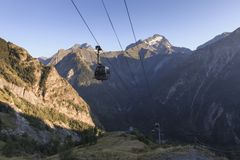 Sunset near cable car in France royalty free stock images
