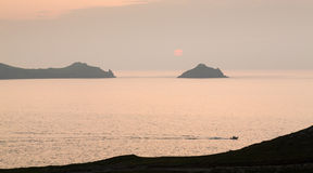 Sunset near Doyden Castle on coastline at Port Quin Royalty Free Stock Photo