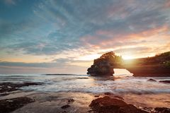 Sunset near famous tourist landmark of Bali island. royalty free stock image