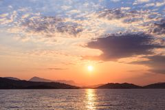 Sailing yacht on the sea. Sunset near Greece islands, Cyclades Royalty Free Stock Photo