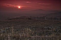 Sunset near Isperihovo. Red sunset near Isperihovo village royalty free stock photography